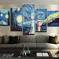 Starry Night Rick and Morty Canvas Set