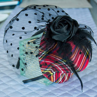 """Plaid Mini Top Hat - """"Avril"""" Red Plaid Mini Top Hat is embellished with a black rose, feathers and black veil netting"""