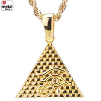 "Jewelry Kay style Men's 14k Gold Plated Iced Out 3D Egypt Pyramid Pendant 24"" Rope Chain HC 1098 G"
