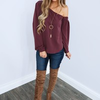 Feeling So Good Blouse: Dusty Plum