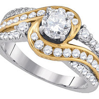 Diamond Bridal Ring with 0.75ct Center Round Stone in 14k Two Tone Gold 1.51 ctw