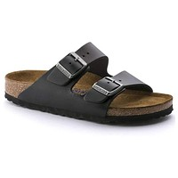 Women's Arizona Sandal in Amalfi Black with Soft Footbed by Birkenstock