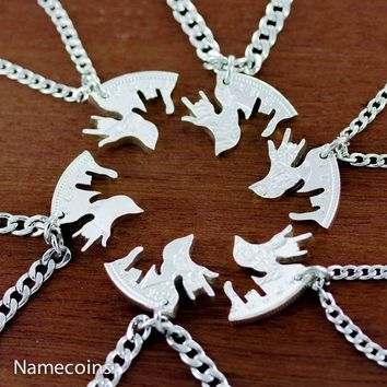 Family Necklace set, 6 Piece I love you hands, Silver dollar, hand cut coin by NameCoins