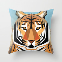 Tiger Geometric  Throw Pillow by VictoriaDexter