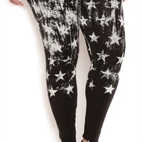 Plus Size Leggings with Distressed Flag Print