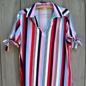 Vintage top - striped polo-neck blouse with sleeve ties