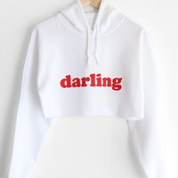 Darling Oversized Cropped Hoodie - White