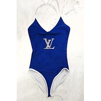 LV Louis Vuitton Fashion Women LV Letter Diamond Pattern Sexy V Collar One Piece Bikini Swimwear Bodysuit Blue
