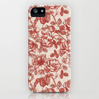 Toile de jouy (Roses) iPhone Case by Kirpa | Society6