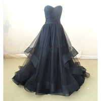 Sweetheart A-Line Black Tulle Prom Dresses