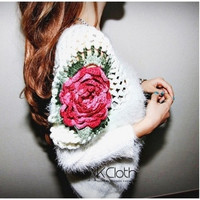 Embroidery Rose Sweater  Casual Sweater Cardigan Long Sleeves Knit Wear Outerwear Misery Jumper Tops = 1920329348