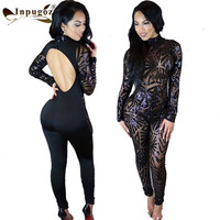 sexy nightclub back Hollow sequined embroidery perspective Print Random Position Bodycon Women Rompers Sexy Bodysuits Jumpsuit