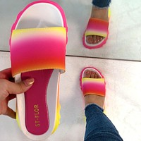 Summer sandals color sports style one-word slippers slippers women slippers Shoes
