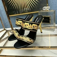 Versace  Fashion Trending Leather Women High Heels Shoes Women Sandals Heel
