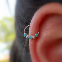 Thin Helix earring - nose ring - Cartilage earring - tragus piercing - turquoise piercing - December birthstone - Extra Thin tiny hoop