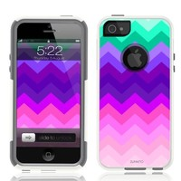 iPhone 5 Case [White] Chevron Wave [Dual Layer] UnnitoTM *1 Year Warranty* Case Protective [Custom] Commuter Protection Cover iPhone 5S