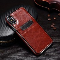 OUJINUO TPU+PU leather back case for iphone X 8 7 6 6s card holder business phone case for iphone 6 6s 7 8 plus