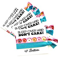 SLEEP OVER Hair Don't Care Girls Birthday Party Favors, donut themed kids birthday party