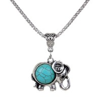 HAPPY World Lovely Necklace Tibet Elephant Shape Round Rimous Turquoise Pendant Chain Jewelry Gift