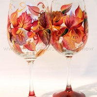 Fall leaves in Dark Green and Rust wine glass that is hand painted