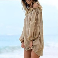 Vacation Beach Skirt Sun Protection Blouse Bamboo Cotton Sun Protection Cardigan Top khaki