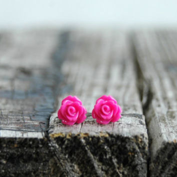 Hot Pink Rose Earrings . Rose Stud Earrings . Bridesmaid Jewelry . Flower Girl Jewelry . Bridesmaid Gift . Unique Gift Ideas for Her . Studs