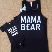 Mama Bear - Bear Cub - Blue -  Mommy and Me Set - Ruffles with Love - RWL Kids