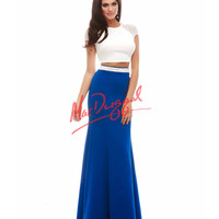 Hot Two Piece Ivory & Royal Blue Dress