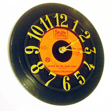 Record Clock, Vinyl Record Clock, Wall Clock, Dillingham Record, Recycled Record, Upcycle, Battery & Wall Hanger included, Item #101