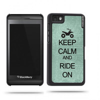 Keep Calm And Ride On Teal Floral Blackberry Z10 Case - For Blackberry Z10