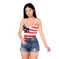 crop top 2017 summer  American Flag Printed Lady Striped tank top Women Casual Loose crops tops Sleeveless Sexy Strapless Tops