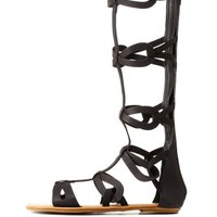 Black Bamboo Looped Tall Gladiator Sandals