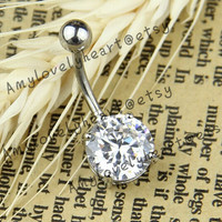Austria Diamond Belly Button Ring ,316L  Belly Ring ,Zircon Button Ring, Belly Button Ring,Belly Button Piercing