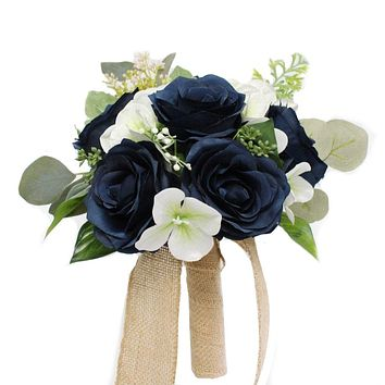 Silk Navy Blue Rose Rustic Burlap Wedding Bouquet with Hydrangea and Greenery