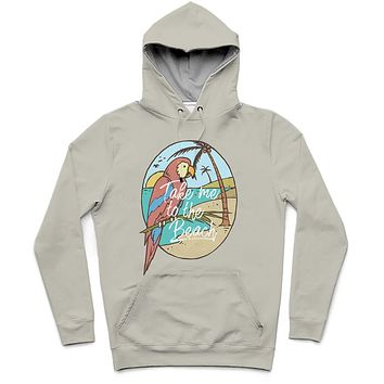 Take Me To The Beach Trendy All-Over Print Solid Grey Nickel Hoodie