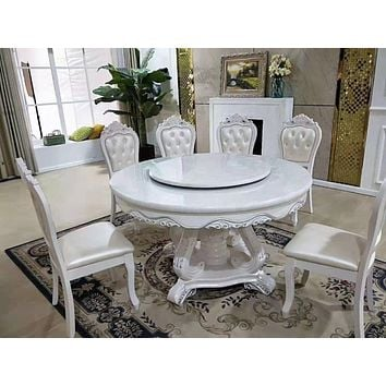 Antique Style Marble and Wooden Round Dining Table Set