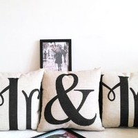 OJIA 18 X 18 Inch Cotton Linen Home Decorative Throw Pillow Covers Cushion Cover Couple Pillow Case, Mr & Mrs Pillowcases, Set of 3