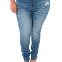 Plus Size High Waist Paint Splattered Blue Jeans, Plus Size Clothing, Club Wear, Dresses, Tops, Sexy Trendy Plus Size Women Clothes