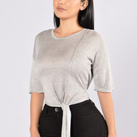Knot Now Or Ever Top - Heather Grey