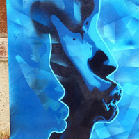 abstract african face painting on canvas,stencils & spraypaints,blues,graphic,lips,urban,afro american,dream,fine art,paint,home,living