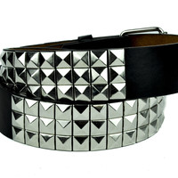 Black and Silver 3 Row Pyramid Stud Belt Genuine Leather