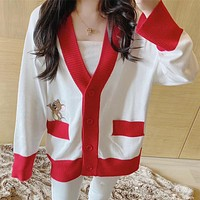 Women Casual Cute Cartoon Tom and Jerry Embroidery Long Sleeve Multicolor V-Neck Knitwear Cardigan Coat