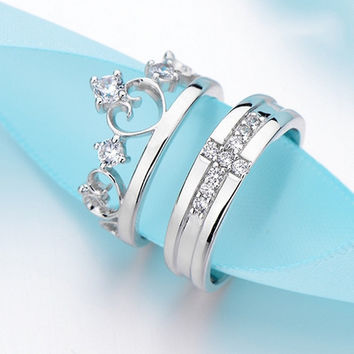Silver Plated Men Women Couple Ring Cross and Imperial Crown Ring adjust Crystal love ring (Color: Silver) = 1929655236