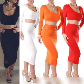 2 Pieces Set Women White Black Red Long Sleeve Mid Calf Bodycon Dress 2015 Novelty Celebrity Clothing Sexy Club Bandage Dress