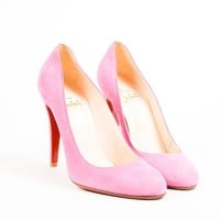HCXX Christian Louboutin Pink Suede Leather Almond Toe   Ron Ron   Pumps