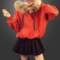 """Moschino"" Women Casual Fashion Long Sleeve Fur Collar Hooded Sweater Pleated Short Skirt Set Two-Piece"