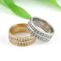 1 PC Gold Silver Crystal Rings Female Stainless Steel Wedding Engagement Charm Rings For Women Fashion Jewelry Size 8 9 10