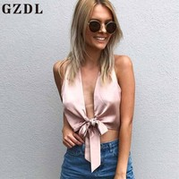 GZDL Fashion Pink Satin Women Bow Tie Front Blouse Shirt Sleeveless Sexy Plunge V Neck Solid Fitness Female Tops Blusas CL4035