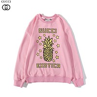 GUCCI GG new fruit print round neck pullover sweater