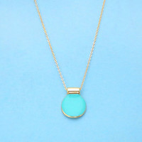 Aqua, Blue, Crush, Geo, Necklace, Unique, Simple, Gold, Necklace, Mint, Color, Birthday, Best friend, Gift, Jewelry